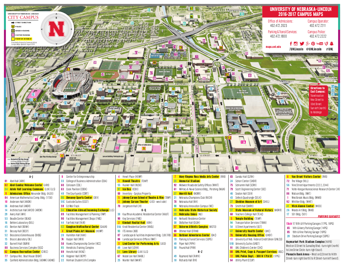 Nebraska Campus Map Bnhspine Com