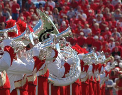 Cornhusker marching band performing at a game